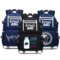 Mob Psycho 100 Anime Backpacks for Teenagers USB Charging Laptop Backpack School Bags Canvas Bookbag Large Women Travel Bagpack