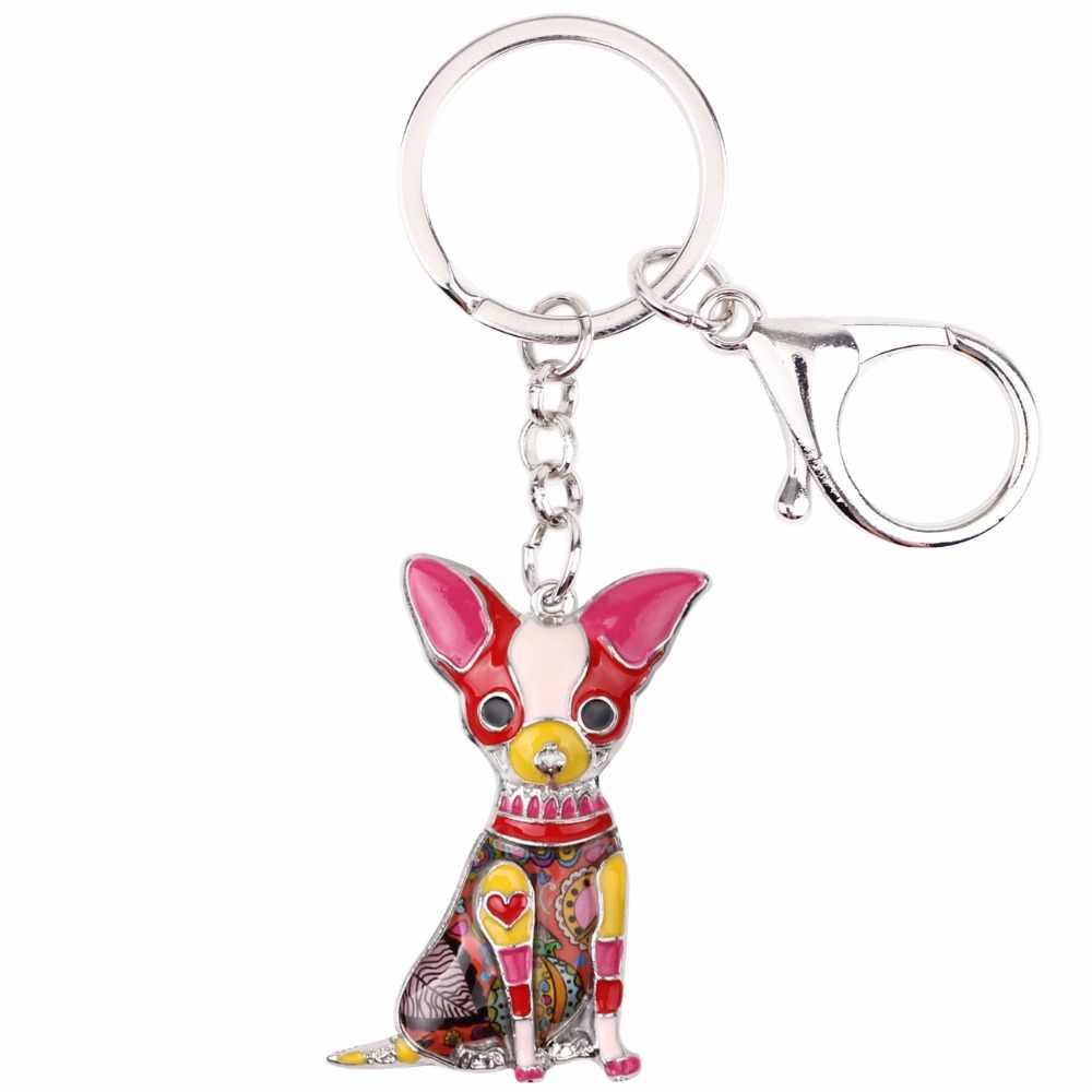 Bonsny esmalte Chihuahuas perro llavero Pom regalo para mujeres chica bolsa colgante 2017 Nuevo encanto llavero joyería de moda