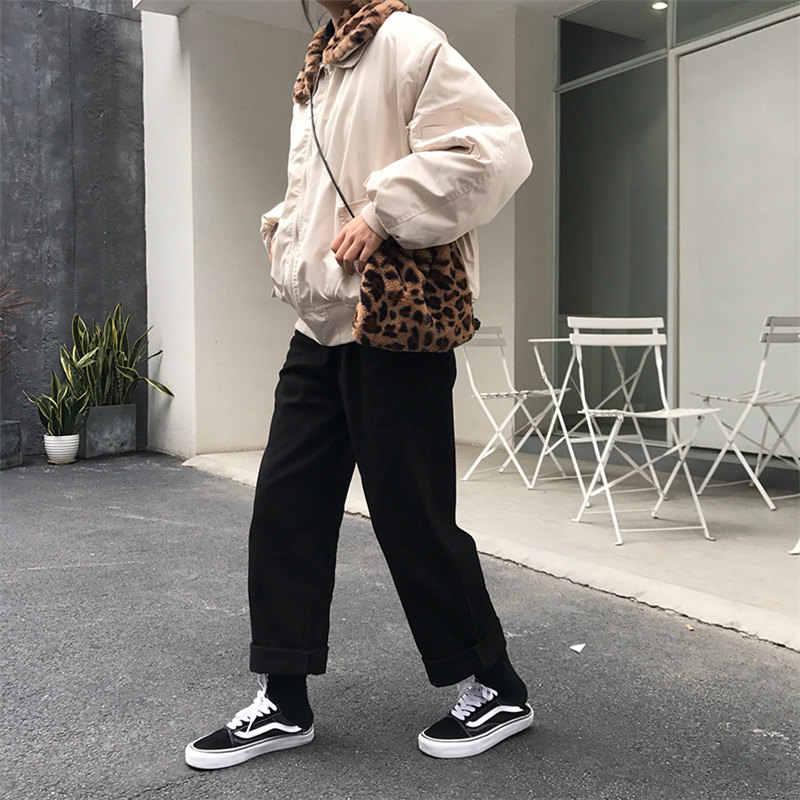 Женские свободные тонкие брюки с высокой талией и принтом «чужой Китти»; коллекция 2019 года; сезон весна-осень; женские модные простые повседневные однотонные брюки для девочек; подходят ко всему