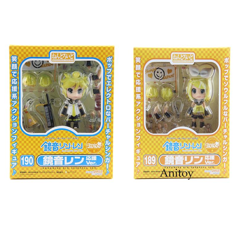 Cute 4 Nendoroid Hatsune Miku Kagamine Len 190 / Rin 189 PVC Action Figure Model Collection Toy cute 10cm nendoroid hatsune miku mid autumn miku pvc action figure collection model toy doll christmas birthday gift with box