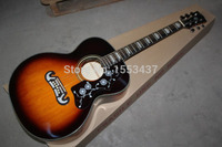 Free shipping SJ200 singlecut Vintage Sunburst with Fishman presys pickups acoustic electric guitar with hard case hott3