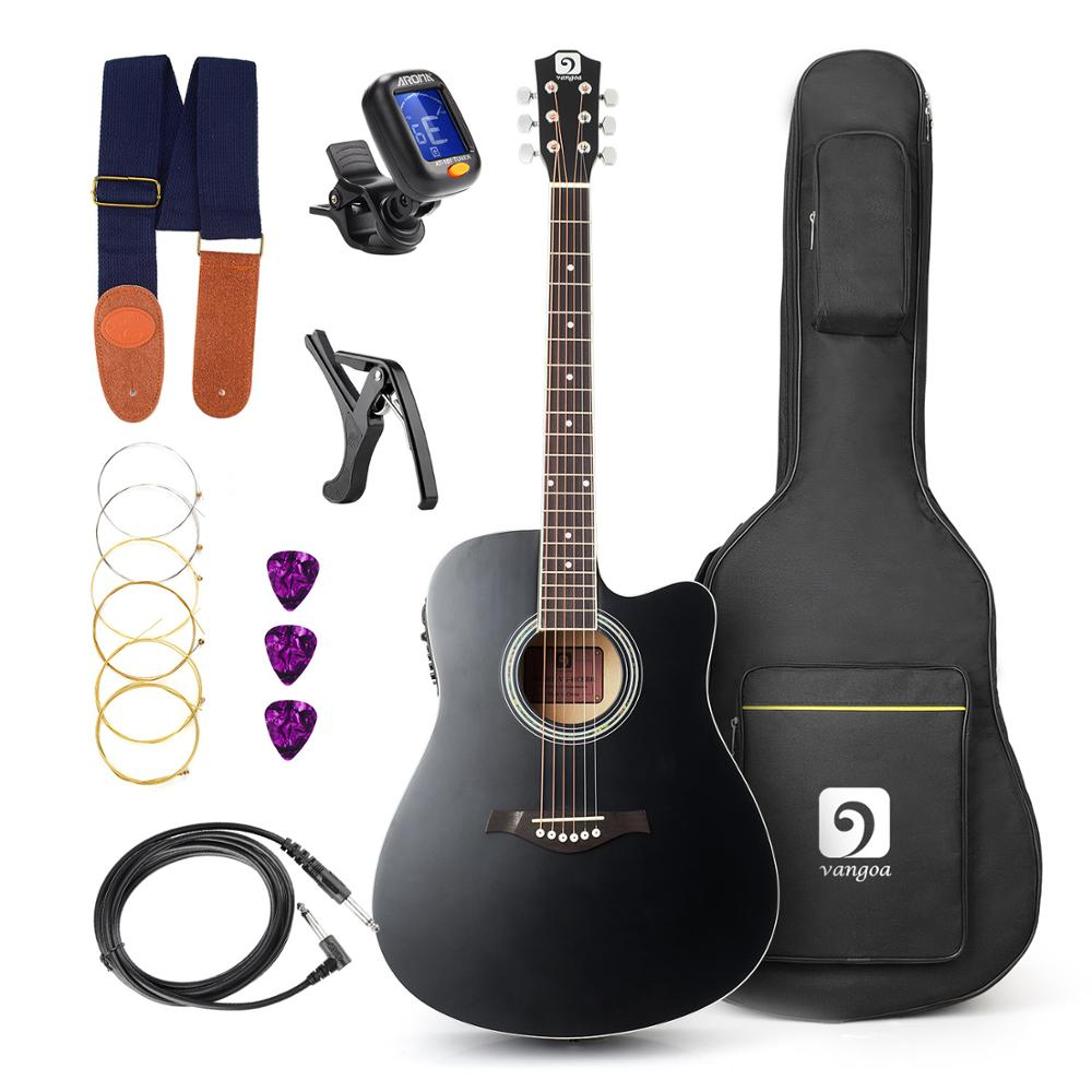 Vangoa - 41 Full-Size Black VG-41ECBK Acoustic Electric Cutaway Guitar with Guitar Gig Bag, Strap, Tuner, String, Picks, Capo astraca deluxe brown black 40 41 acoustic guitar bag 600d nylon oxford guitar soft case gig bag 10mm thicken