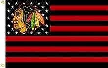 Чикаго Блэкхокс Полосой Флаг 3ft х 150 футов Х 90 СМ флаг Флаг