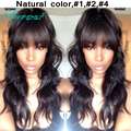 7A Wavy Human Hair Lacefront Wigs,Brazilian Virgin Body Wave Lace Front Wig Glueless Lace Wig With Full Bangs For Black Women