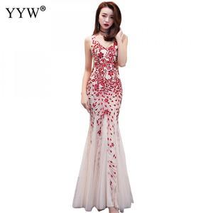 Image 1 - Elegante lantejoulas feminino luxo longo vestido de noite formal clube festa vestidos bordado cheongsam tradicional chinês sereia vestido