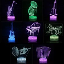 7 Colors Guitar Drum Sax LED 3D Illusion Visual Night Light Creative Bedroom Table Decoration Light Novelty Colorful Lamp Abajur led 3d illusion visual lamp dinosaur model night lamp 7 colors touch light bedroom decorative lamps for baby novelty night light