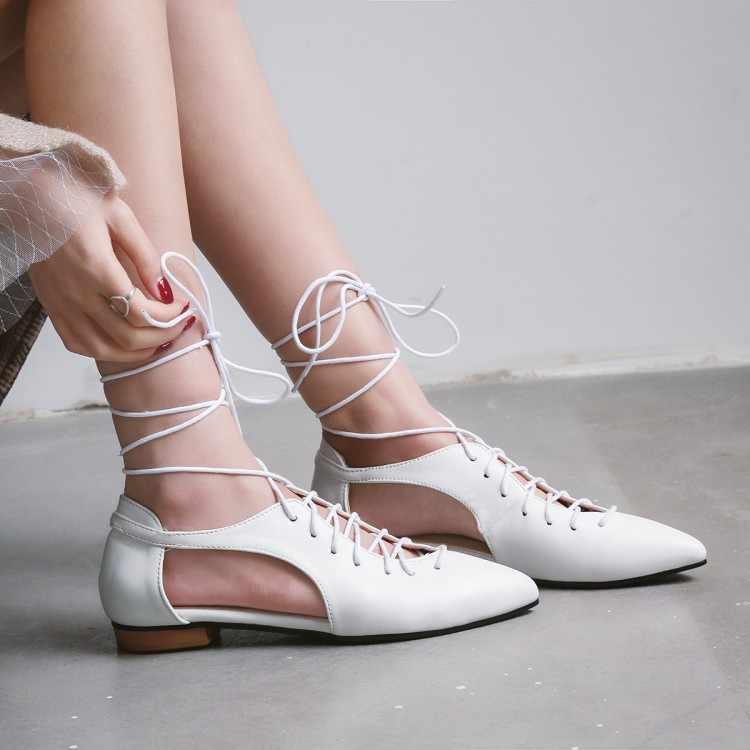 Große Größe 11 12 13 14 15 16 17 sommer flache sandalen damen frauen schuhe frau Flach geschnürt flache- sohlen sandalen