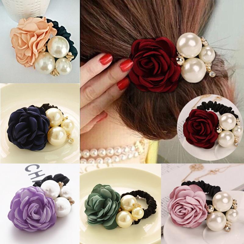 LNRRABC Women Elastic Hair Bands Hair Accessories Big Flower Hair Rope Rhinestones Imitation Pearls Charms Rubber Band Headwear