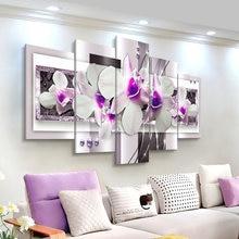 Современная Картина на холсте 5 панелей комбинированные цветы