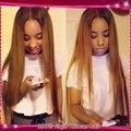 Темные корни светлые волосы 100% необработанной бразильский девственные волосы итальянский яки полный парик шнурка / ломбер фронта шнурка человеческих волос парик