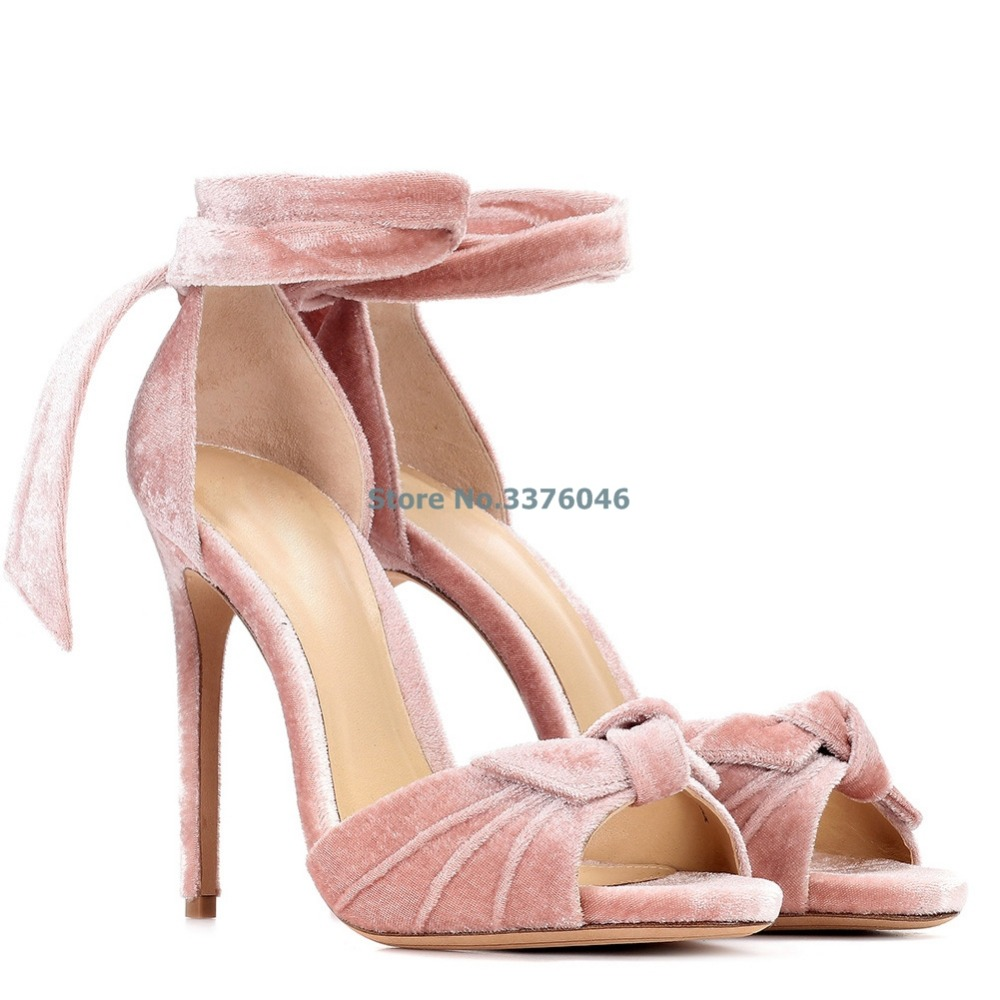 Open Toe Butterfly-knot Stiletto Heel Banquet Shoes Pink Blue Velvet Ankle Strap Lace Up Thin High Heel Shoes Elegant Party ShoeOpen Toe Butterfly-knot Stiletto Heel Banquet Shoes Pink Blue Velvet Ankle Strap Lace Up Thin High Heel Shoes Elegant Party Shoe