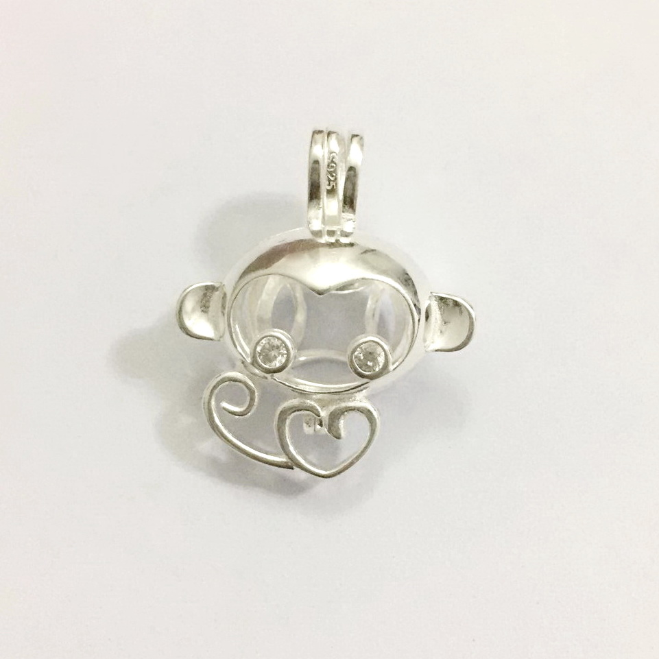 Solid 925 Silver Inlay Shiny Gems Eyes Monkey Locket Cage, Can Hold Pearl Beads Pendant Mounting, Sterling Silver Cage Pendant locket