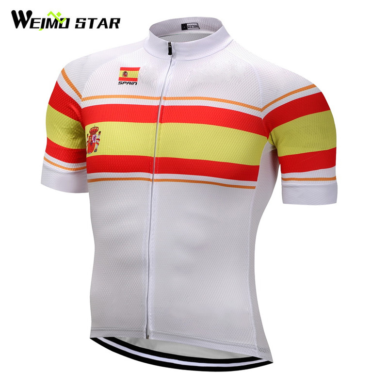 sports shoes 3d854 8bf12 US $14.13 21% OFF|Weimostar 2018 Nation Model Spain Team Cycling Jersey  Summer MTB Bicycle Clothing Ropa Maillot Ciclismo Racing Bike Jersey  Shirt-in ...