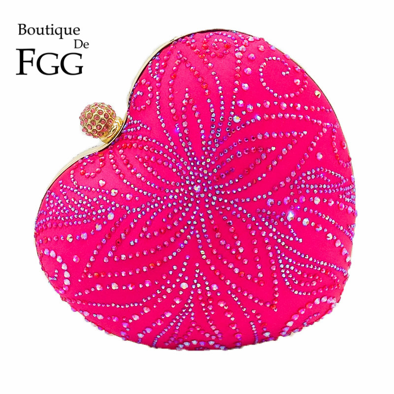 Hot Pink Fuchsia Flower Crystal Women Heart Evening Clutch Bags Hardcase Metal Clutches Wedding Party Bridal Handbag and Purse darlington hove the finite element analysis of a composite sandwich beam