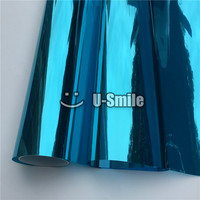 VLT 15% Blue Silver Mirror Window Foil Tinting Film For Buliding Home Office Size:1.52*30m/Roll
