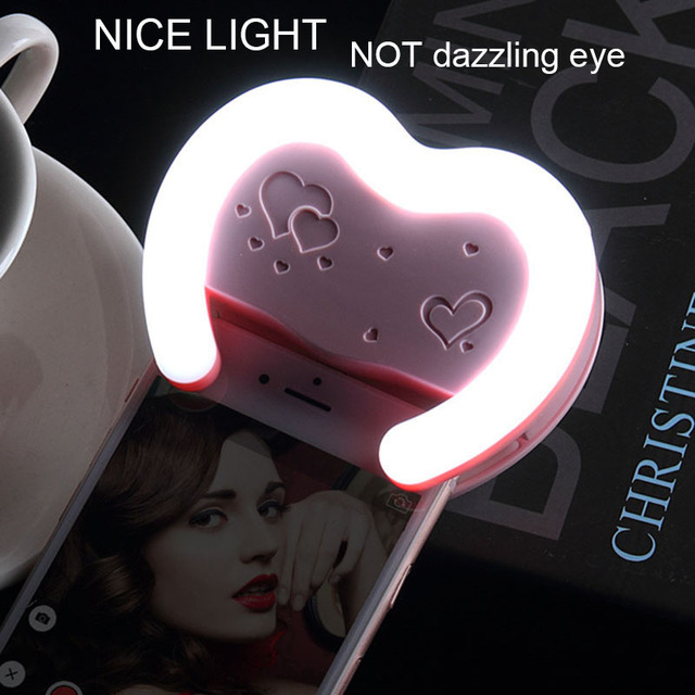 Top Selfie Portable Flash Led Camera Phone Photography Light Enhancing Photography for Smartphone iPhone Samsung Pink Blue