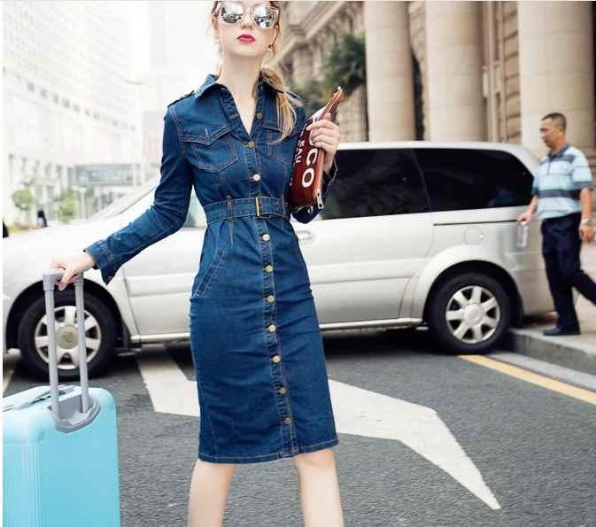 2019 Макси S-4XL женское длинное джинсовое платье осень зима Vestido vaquero OL Большие размеры джинсы с поясом vestidos de verano para mujer