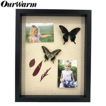 "OurWarm 16x13"" Wooden Photo Frame with Linen Board Shadow Boxes 3D Showcase Keepsake Art Wedding DIY Family Frame Home Decor(China)"