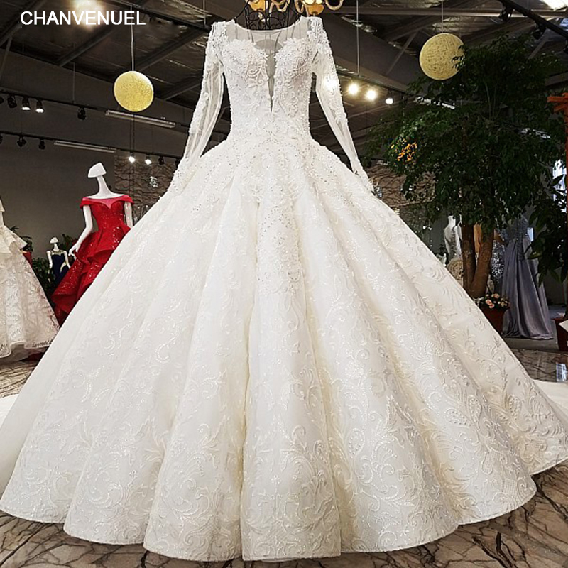 LS81321 vintage luxury pleat ivory major beading wedding dress o neck long sleeve lace up backless