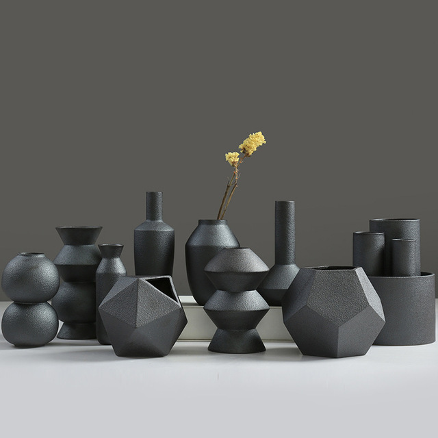 Creative Unique Glaze Burning Black Ceramic Procelain Flower Pots
