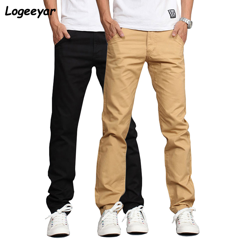 Logeeyar Casual Cotton Slim Trousers Black Pants Men