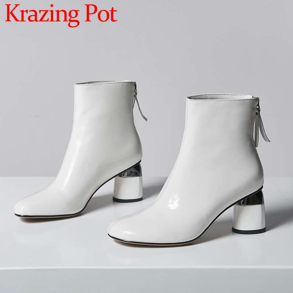 2019 elegance chelsea boots zipper square toe high thick heels cow leather large size solid young
