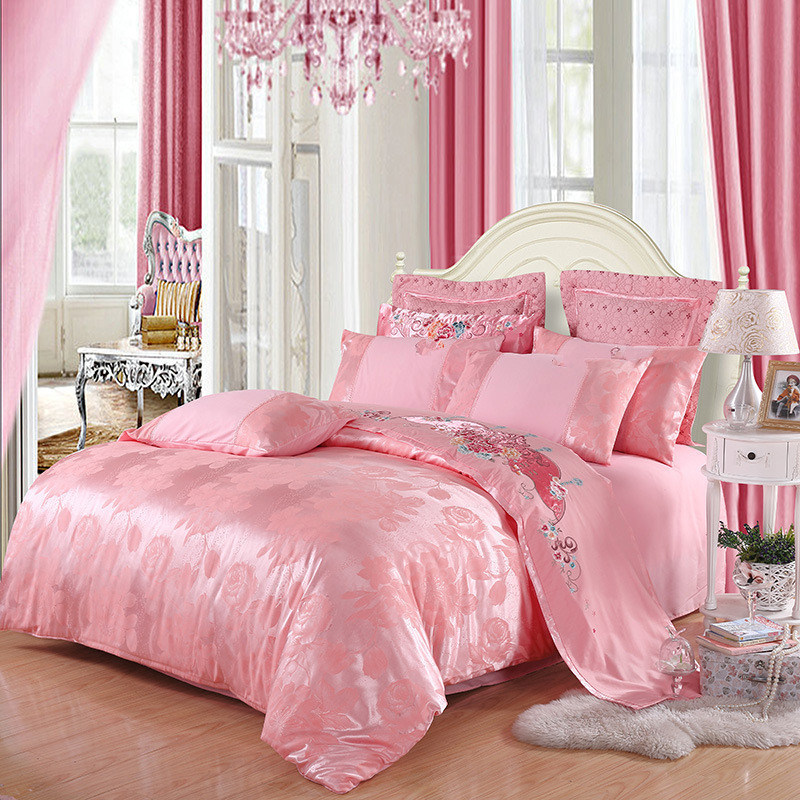 2019 Home Bedding Set Jacquard Duvet Cover Set High Quality 4pcs/set Embroidery Bed Linens Luxurious Bedclothes Super King Bed