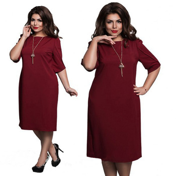 L-6XL Large Size 2020 Spring Dress Big Size Casual Dress Blue Red Green Straight Dresses Plus Size Women Clothing Vestidos 2