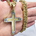 FASHION Hot Brand Punk Jewelry cross Pendant Choker Necklace Cool Men Gifts 5mm Byzantine Stainless Steel Link Chains Necklaces