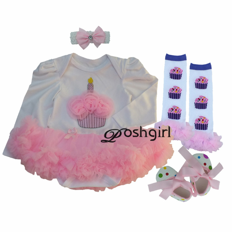 Pink Cupcake Birthday Clothing Set for Newborn Baby Girls Outfits Clothes Princess Girl First Dress Rompers Shoes 4pcs Sets Suit 2016 new fashion baby shoes baby first walker bow lace baby girl princess shoes non slip newborn shoes