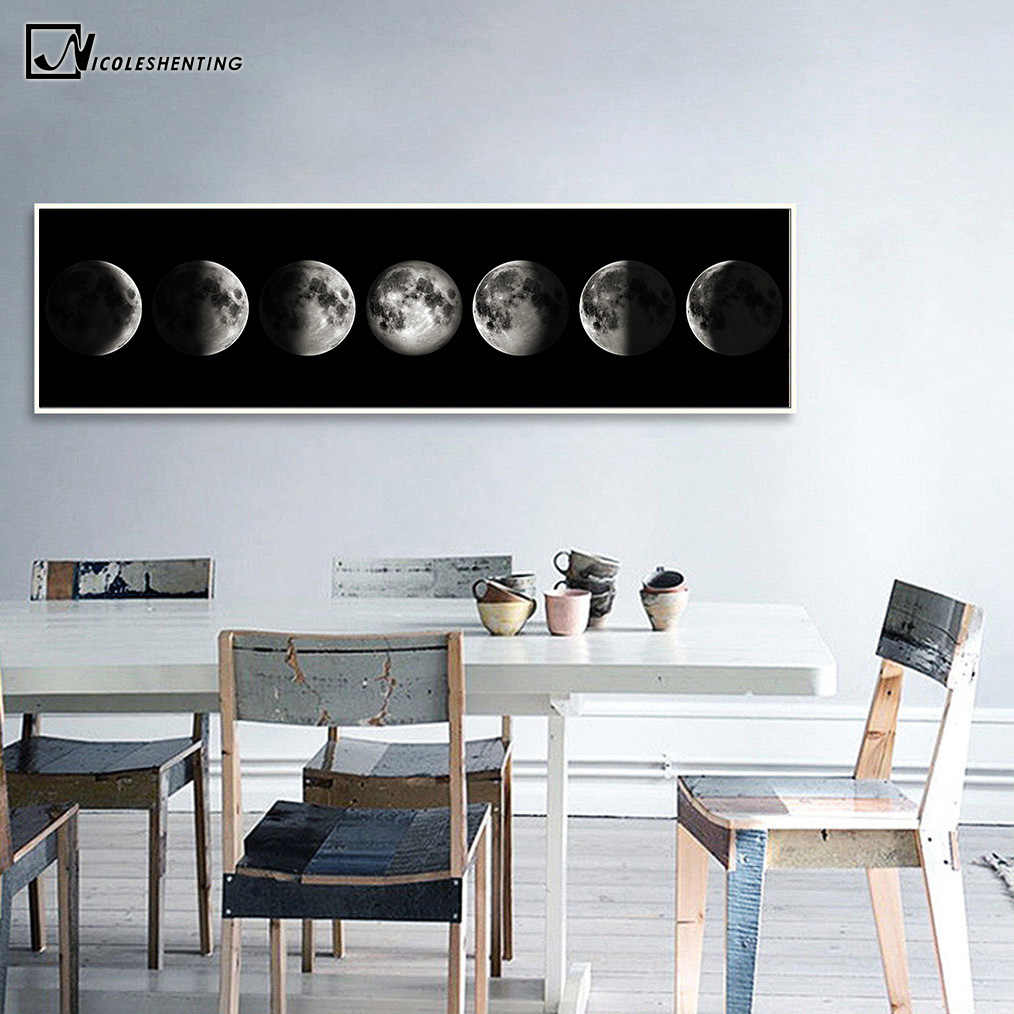 Eclipse of The Moon Canvas Poster Minimalist Art Painting Universe Wall Picture Long Banner Print Living Room Bedroom Decoration