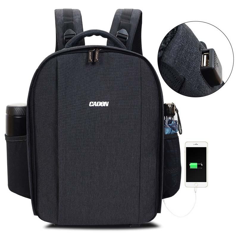 Caden Waterproof DSLR Video Camera Backpack Shoulders Bag Laptop Tripod Travel Daypack w Rain Cover for