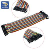 40 stücke in Reihe Dupont Kabel 20 cm 2,54mm 1pin 1 p-1 p Buchse auf Buchse Jumper draht für Arduino brotschneidebrett