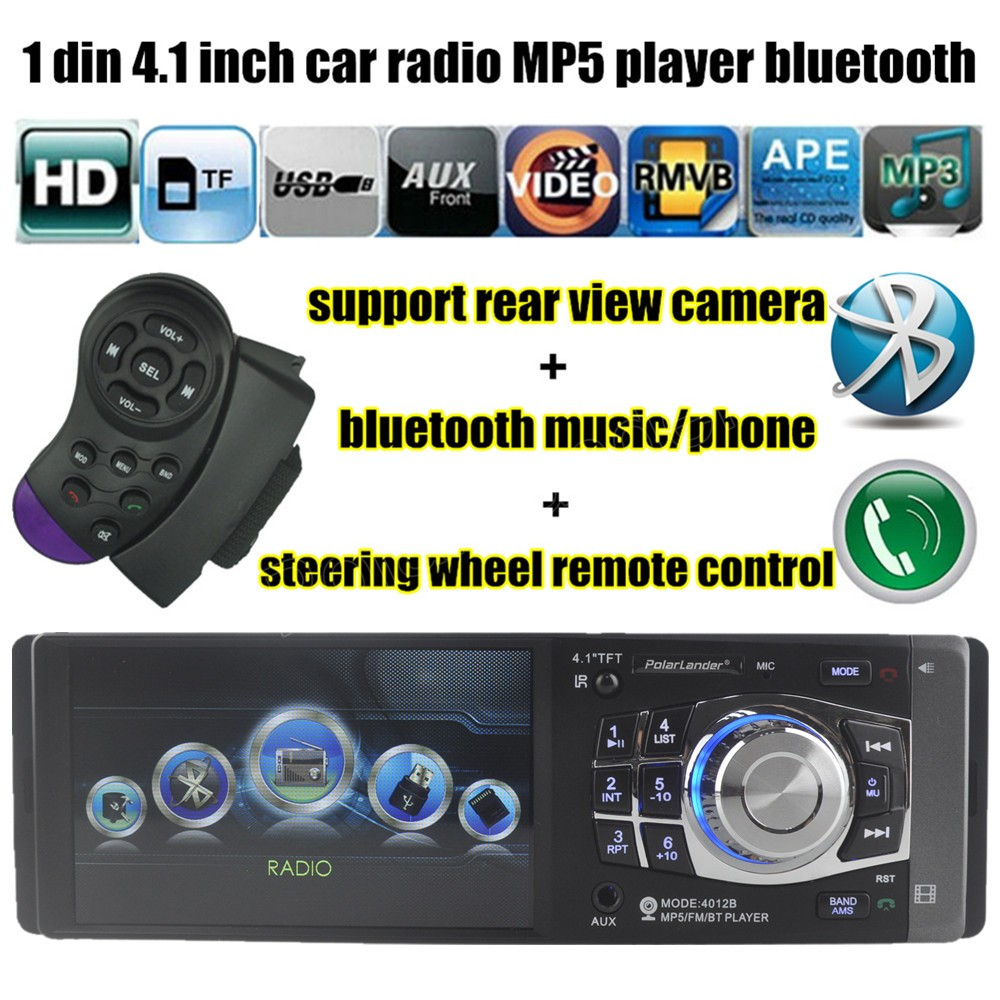 4.1'' inch  HD screen FM support rear view camera car radio bluetooth stereo USB TF 1 din MP5 MP4 player Auxin 10 languages menu