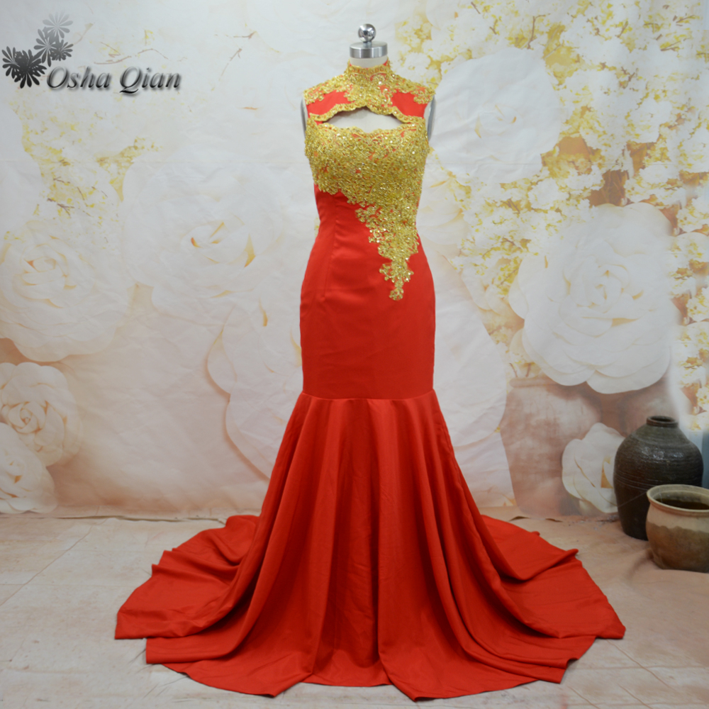 African Evening Dress Red Gold Lace Engagement Dresses High Neck ...