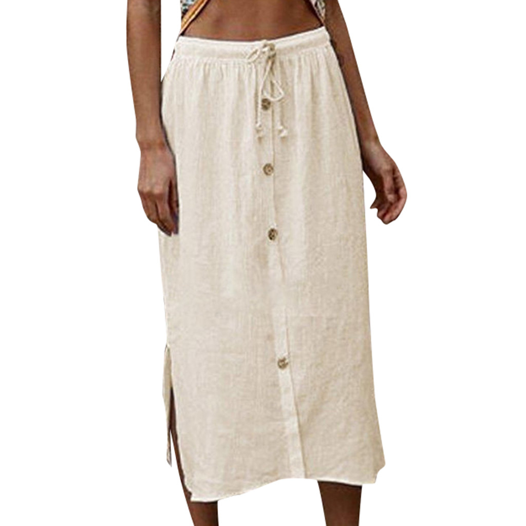 KLV 2020 women summer skirt latest fashion юбка женская Buttons Bandage Elastic Vintage Long High Waist Skirt free shipping D4
