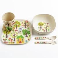 Cartoon Children Tableware Bamboo Fiber Food Tray Water Mug Rice Bowl Scoop Fork Cutlery Christmas Child Gift Kid Dinner Tools