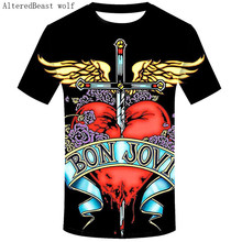 5d3c4c663d3b7 Camisa Nova T Camisa da Banda de Rock BON JOVI Rocha Tee Boa Qualidade  Marca Estilo