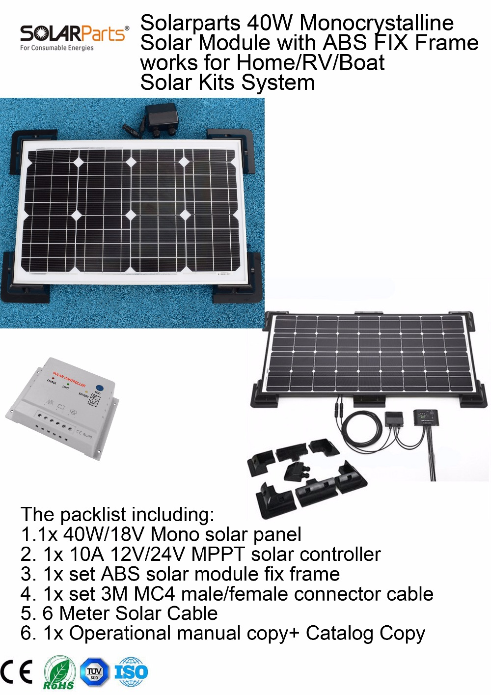 Solarparts 1x 40W Monocrystalline Solar Module by ABS fix frame solar cell factory cheap selling 12V solar panel RV/Marine/Boat solarparts 2x 50w polycrystalline solar module by poly solar cell factory cheap selling 12v solar panel for rv marine boat use