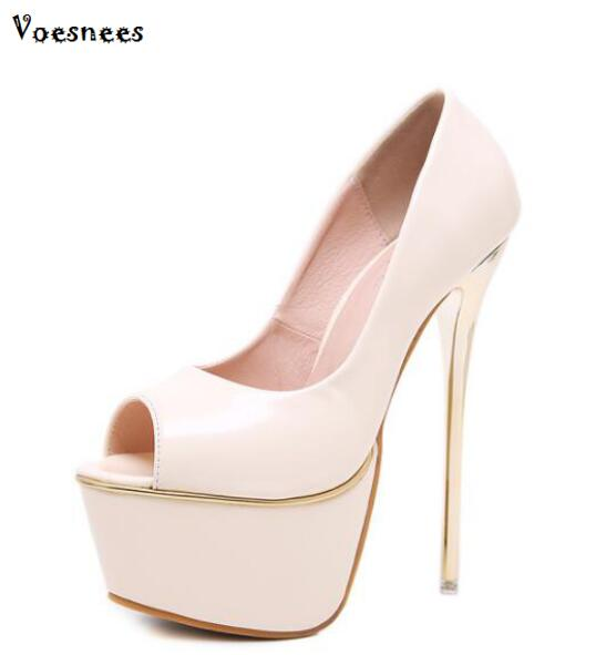 New Stilettos Women Pumps <font><b>High</b></font> <font><b>Heel</b></font> <font><b>17CM</b></font> Pumps Sandals Platform Shoes Women <font><b>Sexy</b></font> Princess Peep Toe Female Pumps Wedding Shoes image