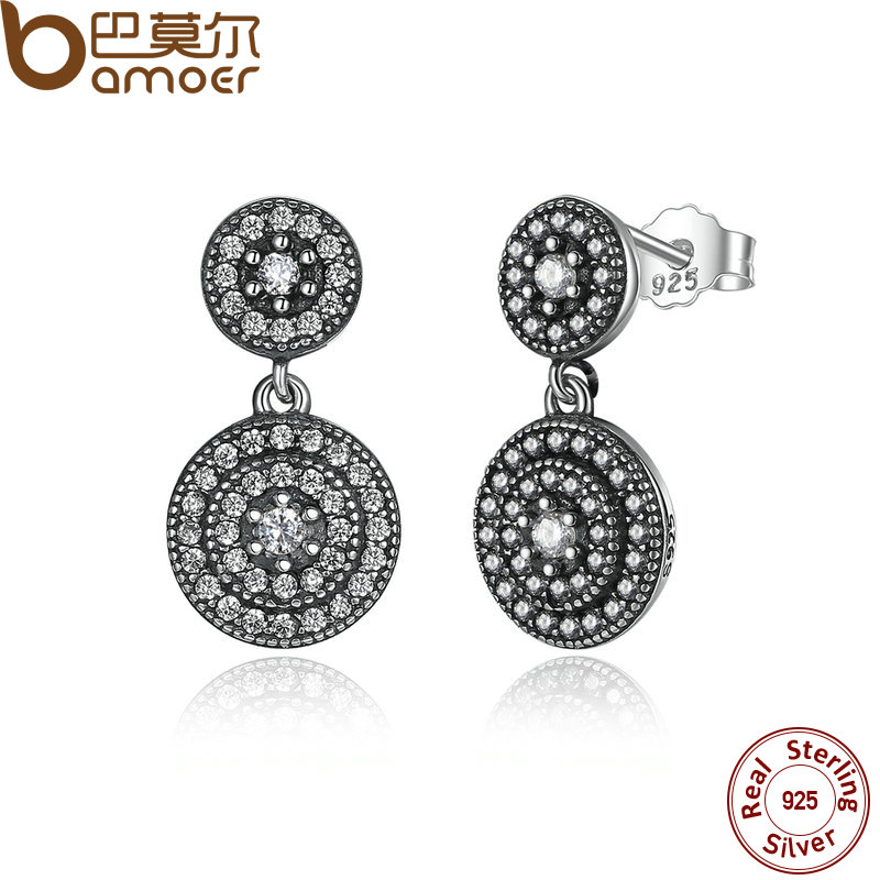 BAMOER 925 Sterling Silver Radiant Elegance Earrings Clear CZ Crystals Surrounded Ancient Silver Women Drop Earrings