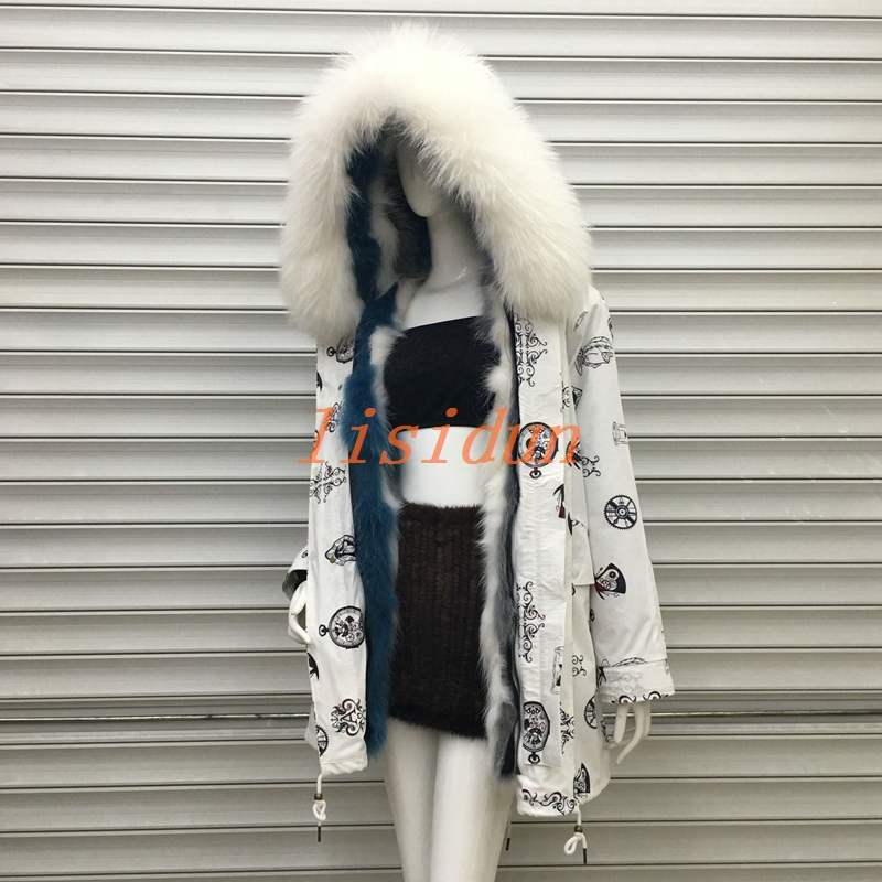 lisidun 2018 fur coat fox parkas winter jacket women parka big real raccoon collar natural liner long outerwear
