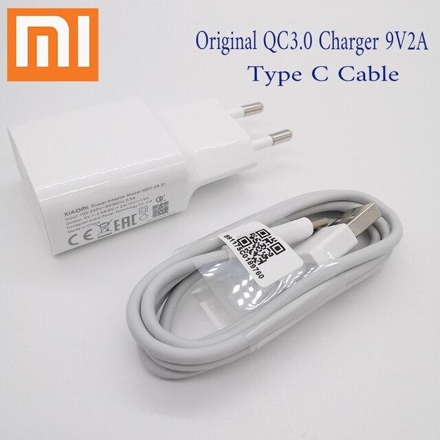 Original XIAOMI Charger EU Plug QC3.0 Fast Adapter 5V 2.5A/9V 2A,Type C Cable For Mi 6 8 A1 6X 5S 5X 5C plus MIX Mix2 2S Note 3
