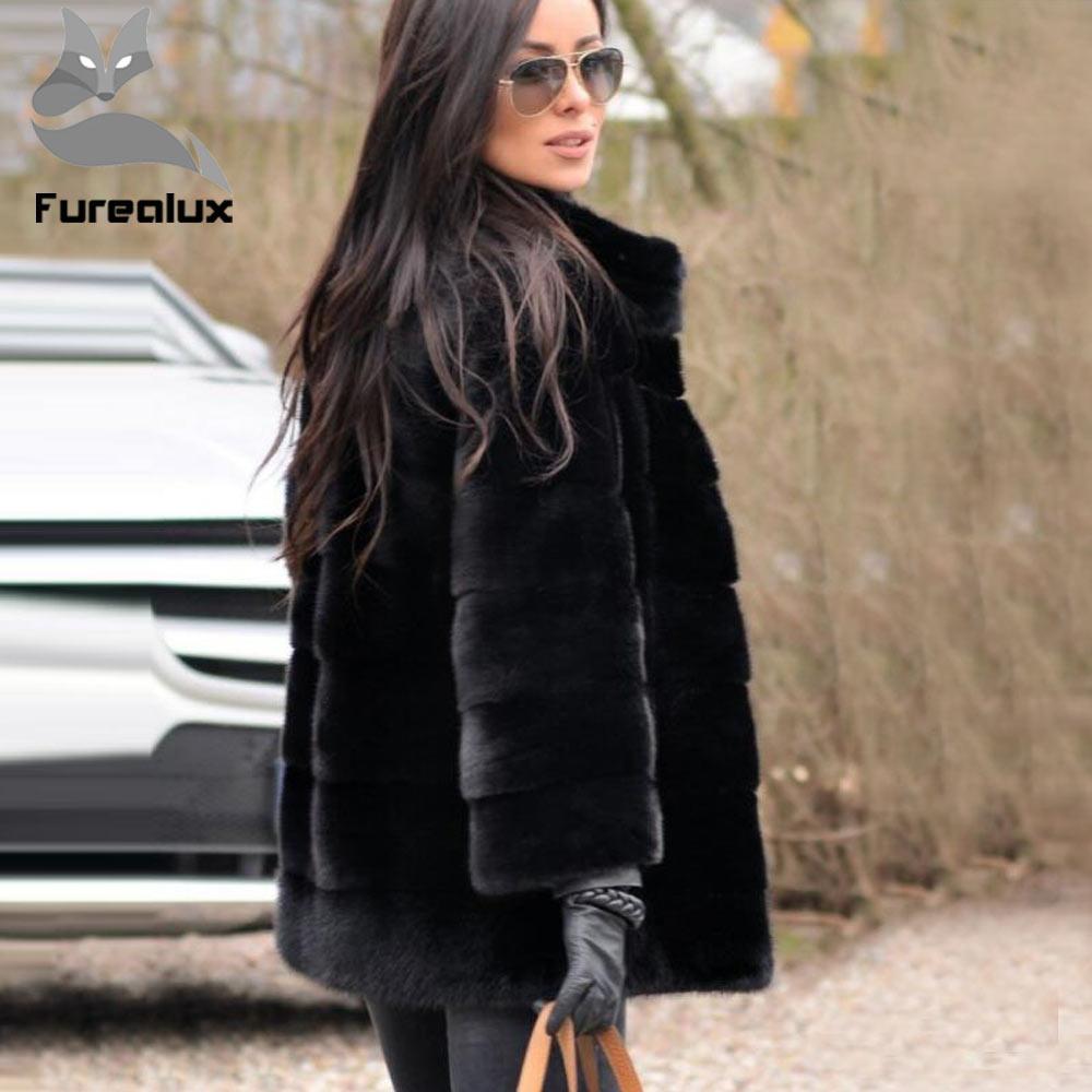 Furealux New Style Fashion Fur Coat Natural Mink Stand Collar Good Quality Mink Fur Coat Women Natural Black Coats Of Mlnk