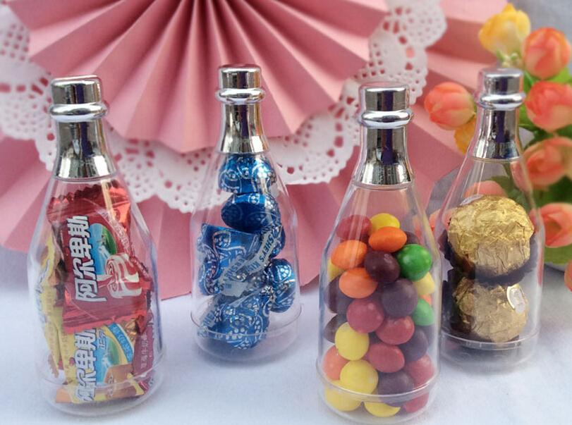 50pcs Champagne Bottle Candy Box Plastic Candy Jars And Bottles