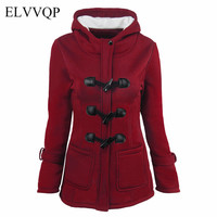 Winter Jacket Women Plus Size 4XL 5XL 6XL Long Sleeve Hooded Parkas Camperas Mujer Abrigo Invierno 2018 Vintage Horn Coat NW481