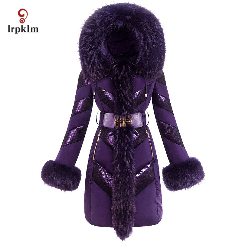2017 New Fashion Vintage Luxury Women Winter Long   Down   Jackets With Big Fox Fur Collar Female Warm Duck   Down     Coat   Slim PQ106