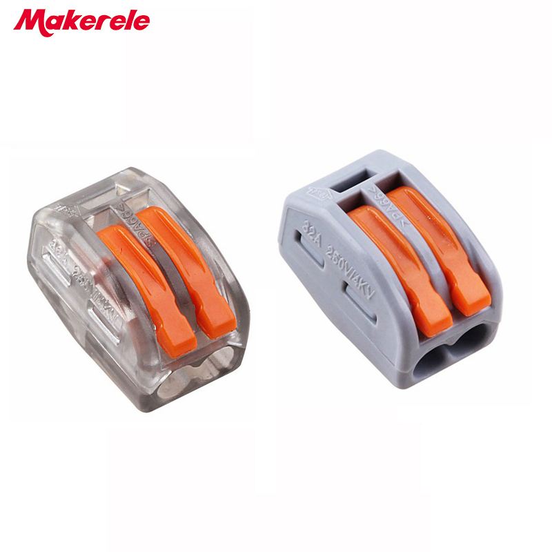 10pcs Makerele 222-412(PCT212) Universal Compact Wire Wiring Connector 2 pin Conductor Terminal Block With Lever 0.08-2.5mm2 10 pieces lot 222 413 universal compact wire wiring connector 3 pin conductor terminal block with lever awg 28 12