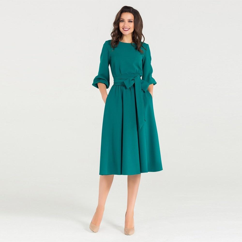 Young17 Fall Vintage Long Dress Women Party Elegant Plue Size Casual Pleated Belt Retro Ladies Midi Office Dresses 2018 Autumn