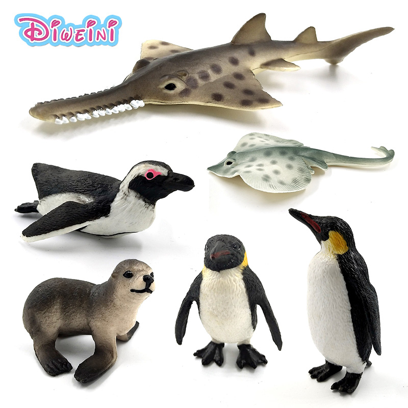 Simulation Sea Life Fish Penguin Sea Lion Fish Skate Sawfish Plastic Animals Model Fairy Craft Figurine Aquarium Home Decor Toys